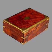 Antique Brass-Bound Palisander Wood Dresser Box