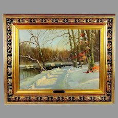 Painting of a Winter Scene by Danish listed artist Aage Bernhardt Frederiksen (1883-1963)