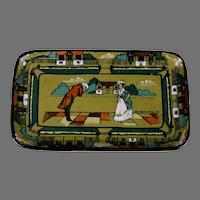 "Antique Buffalo Pottery Deldare Ware Tray ""Ye Olden Days""  1909"
