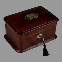 Antique Leather Sewing Box with Red Silk Lining and Key
