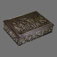 19th C Continental Repousse Metal Dresser Box, Soldiers