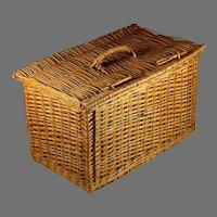 Vintage French Wicker Market Basket