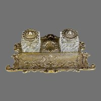Antique Bronze Inkwell with Pen Tray