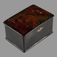 Antique Hinged Russian Lacquer Box with Lock