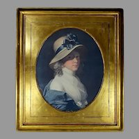 Antique Large Gold Leaf Portrait Picture Frame with Oval Print