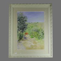 19th C Watercolor Painting of Landscape with figure by French listed artist Paul Pujol