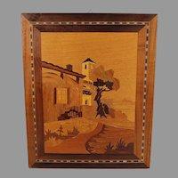 Vintage Inlaid Wood Marquetry Ornate Panel - Rural Scene