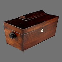 Antique English 19 C Mahogany Wood Tea Caddy Box