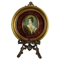 Vintage Miniature Portrait of Baroness Von Krudener after Joseph Stieler  with Easel