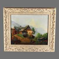 French Oil on Canvas Painting of a Landscape