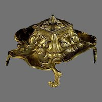 Antique European Bronze Inkwell with Tray