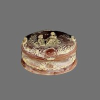 Vintage Oval Incolay Stone Jewelry Box with Children at Play