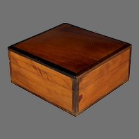 Antique Inlaid Hard Wood Dresser Box