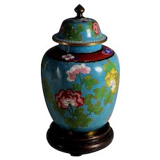 Chinese Lidded Cloisonne Urn Peonies with Stand