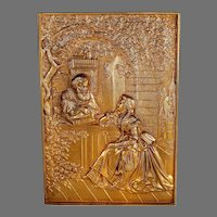 19th C Bronze Plaque in Relief Courting Couple