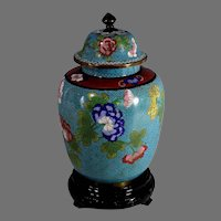 Old Chinese Cloisonne Urn with Lid and Stand B