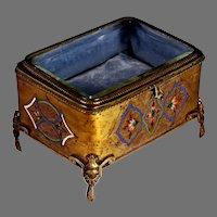 Antique French Jewelry Casket Box Ormolu w Enamel and Beveled Glass Lid w Feet