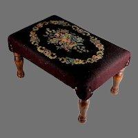 Vintage Floral Needlepoint Ottoman Footstool