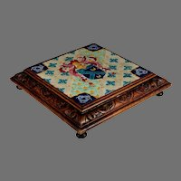 Antique French Longwy Tabouret with Heraldic Tile
