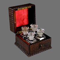 Cute Antique French Wood Box with Four Perfume Bottles