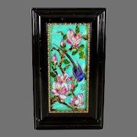 Antique French Enamel ART - G. Denechaud Cognac - Bird and flowers