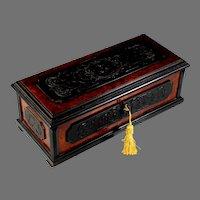 19th C French Charles X Burl Wood and Gutta-Percha Dresser Box