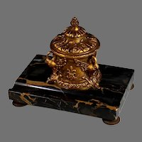 19th C French Nero Portoro Marble Inkwell with Pen Slot Swans