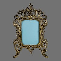 19th c French Bronze Photo Frame with Ornate Border and Easel