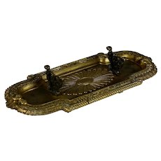 Antique Napoleon III French Silvered Bronze Pen Tray with Feet