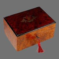 Antique Napoleon III Inlaid Amboyna Burl Wood Dresser Box, Marquetry