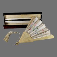 19th C French Hand-Painted Silk Fan Eventail w Carved Spines Original Box