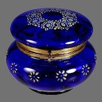Antique Blue Enameled Glass Bohemian Hinged Trinket Dresser Box