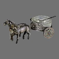 Antique French Silver plate Master Salt Horse Drawn Carriage Glass Insert, Spoon