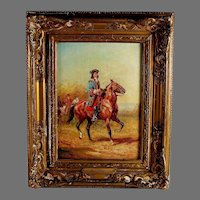 Oil Painting of a Calvary Officer by French listed artist Georges Gerbier (1906-1983)B