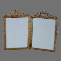 Antique French Gilded Double Bow Top Photo Frame