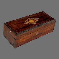 19th C Antique French Inlaid Coromandel Glove Box