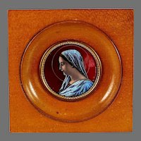 Enamel Limoges Plaque Miniature Painting Signed B