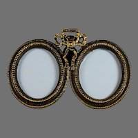 19th Century French Gilded Bronze Bow Top Double Photo Frame
