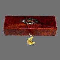 19th Century Antique French Inlaid Amboyna Wood Dresser Box