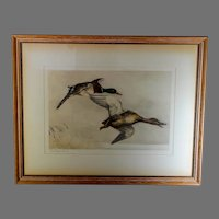 """Leon Danchin Signed """"Canards Sauvages"""" Original Engraving Hand-Finished"""