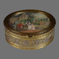 Antique French Oval Gold Metal Portrait Box