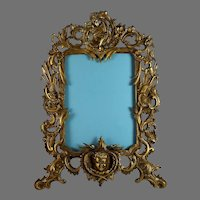 """Antique French Gilt Bronze Photo Frame 15 3/4"""" by 11 3/4"""" with Extra Beveled Mirror"""