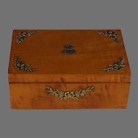 19th C French Charles X Satin Wood Dresser Box with Appliques