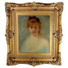 French School Portrait Painting of a Young Woman