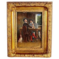 Antique French Early 20th C Genre Painting