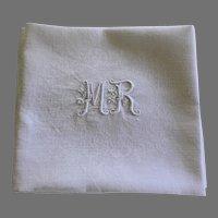 Set of 8 Antique French White Monogrammed Napkins MR