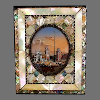 Framed Grand Tour Miniature Painting of a Harbor with a Column