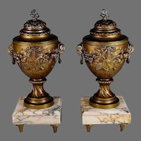 Antique White Marble and Bronzed Metal Garnitures Urns