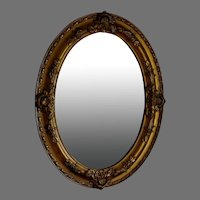 """Antique Gilded Gesso Oval Mirror 24 1/4"""" x 18 3/4"""""""