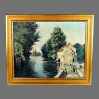 Oil Painting of a River Scene by French artist S. Constant